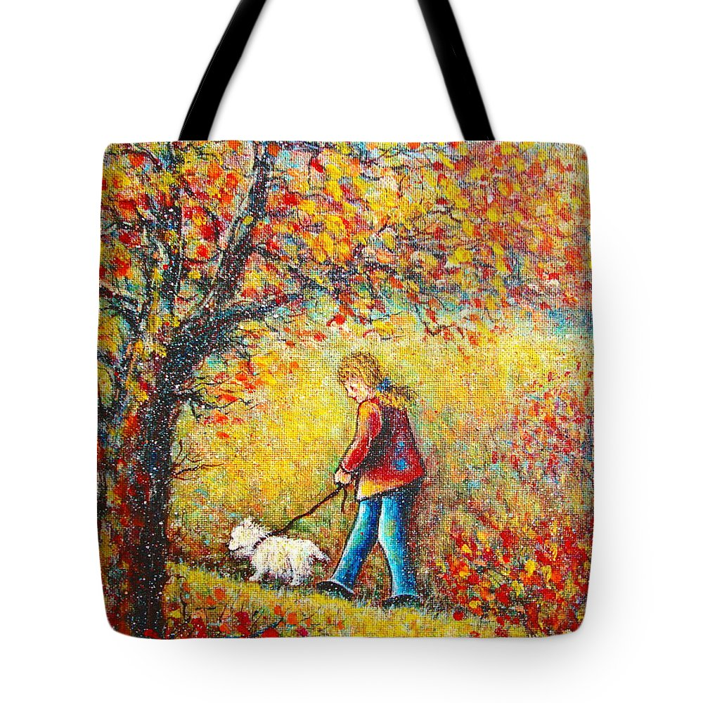 Landscape Tote Bag featuring the painting Autumn Walk by Natalie Holland