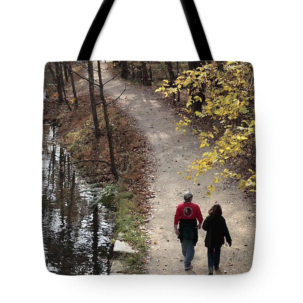 Autumn Tote Bag featuring the digital art Autumn Walk On The C And O Canal Towpath With Oil Painting Effect by William Kuta