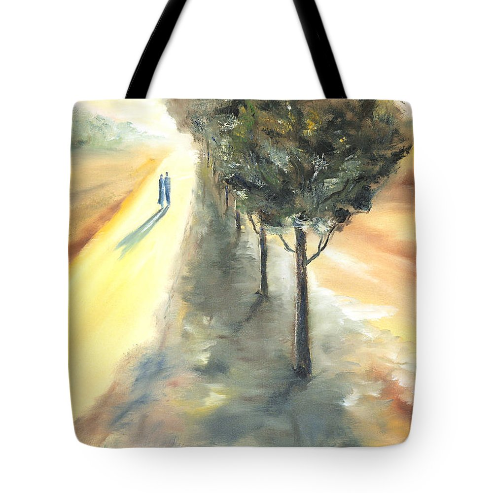 Landscape Tote Bag featuring the painting Autumn Walk by Vera Persiyanova