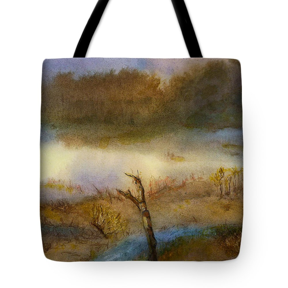 Wetlands Tote Bag featuring the painting Autumn Wetlands by Sharon Jameson