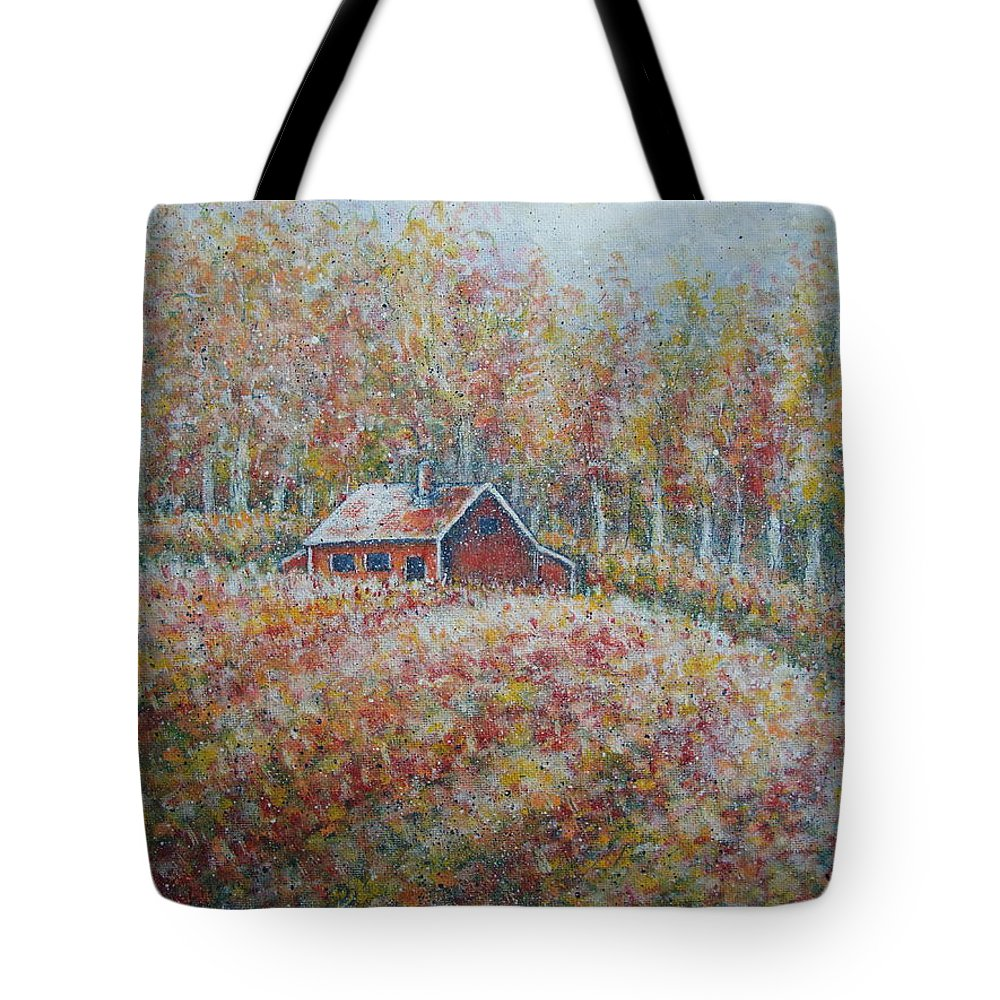 Landscape Tote Bag featuring the painting Autumn Whisper. by Natalie Holland