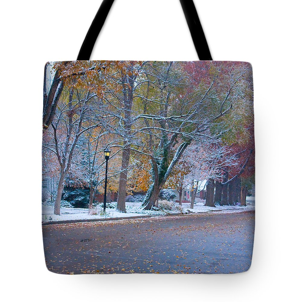 Street Tote Bag featuring the photograph Autumn Winter Street Light Color by James BO Insogna