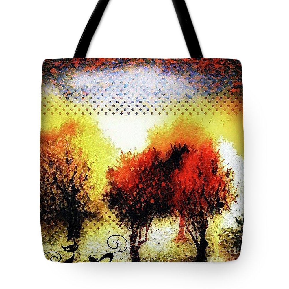 Collage Tote Bag featuring the digital art Autumn With Cat Focus by Swedish Attitude Design