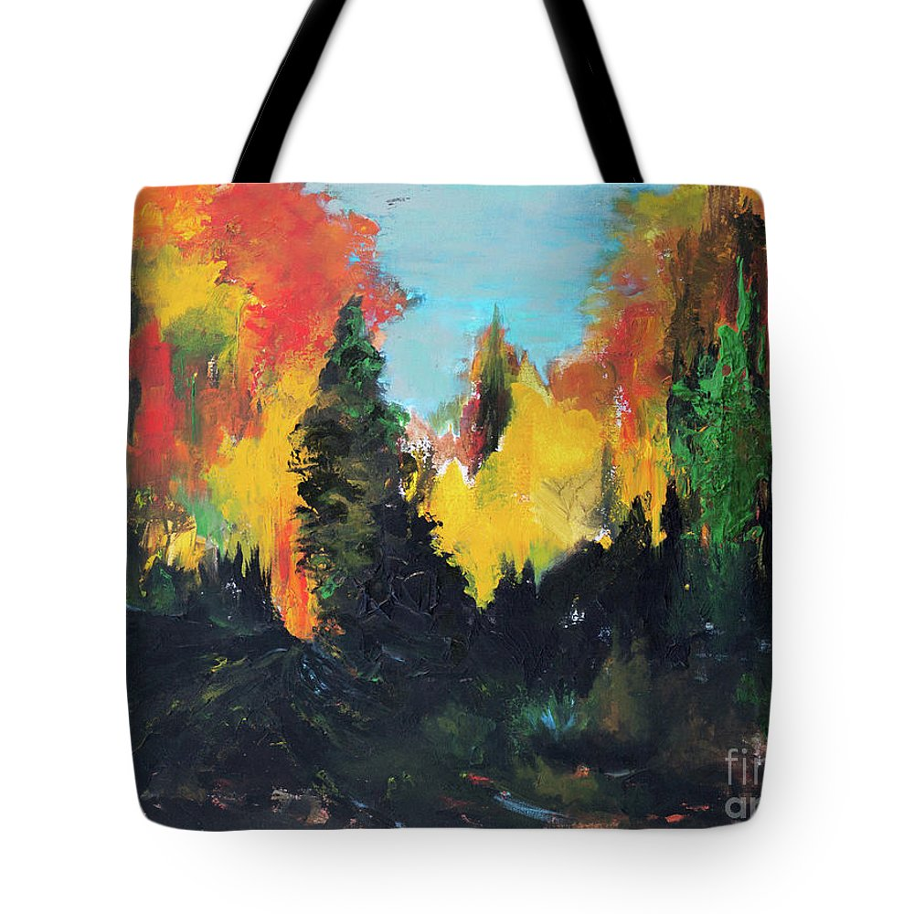 Autumnal Tote Bag featuring the painting Autumnal Colors by Suzanne J Blinder