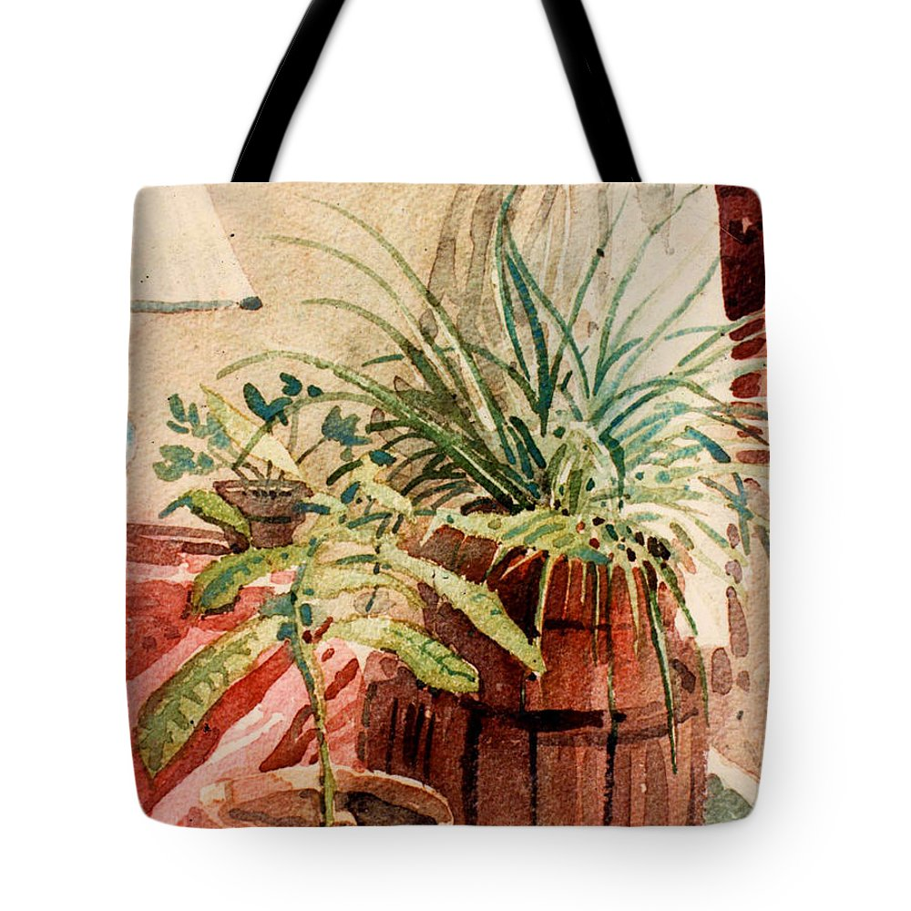Potted Plants Tote Bag featuring the painting Avacado And Spider Plant by Donald Maier