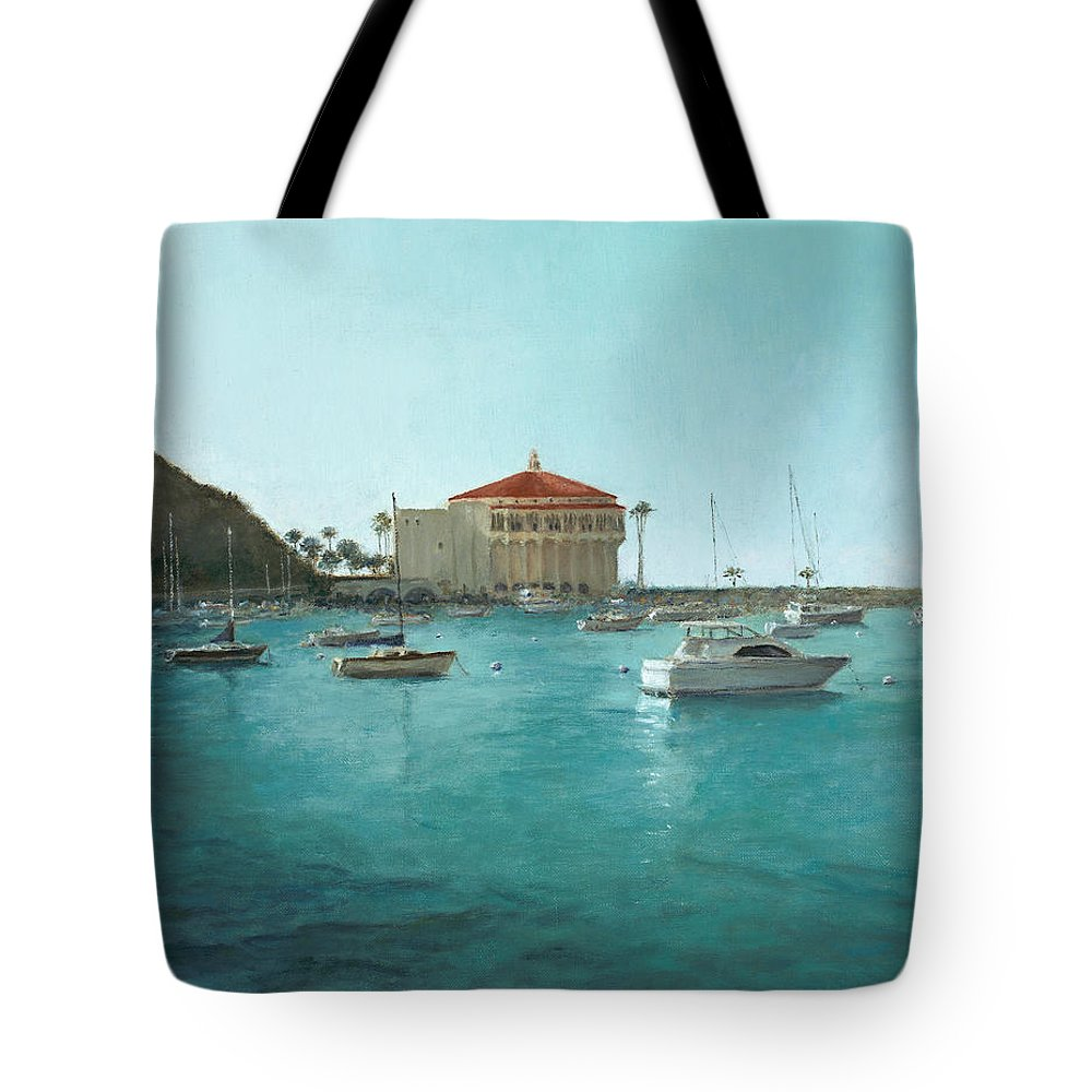 Catalina Island Tote Bag featuring the painting Avalon Harbor Afternoon by Laura Wynne
