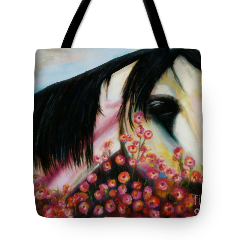 Horse Tote Bag featuring the painting Avalon's Rose by Sidra Myers