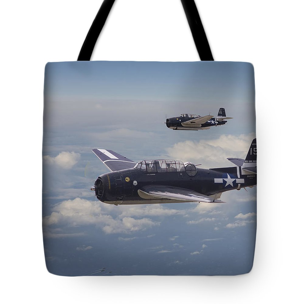 Aircraft Tote Bag featuring the photograph Avenger Strike by Pat Speirs