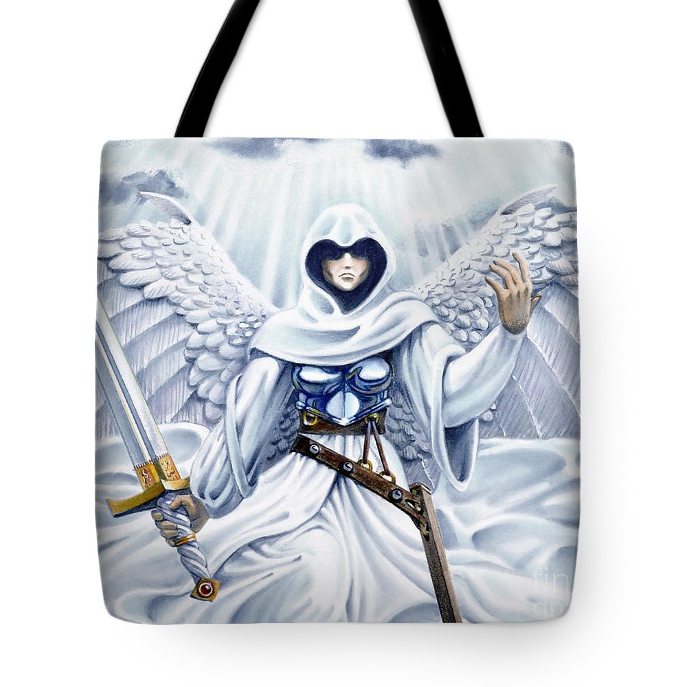 Angel Tote Bag featuring the painting Avenging Angel by Melissa A Benson
