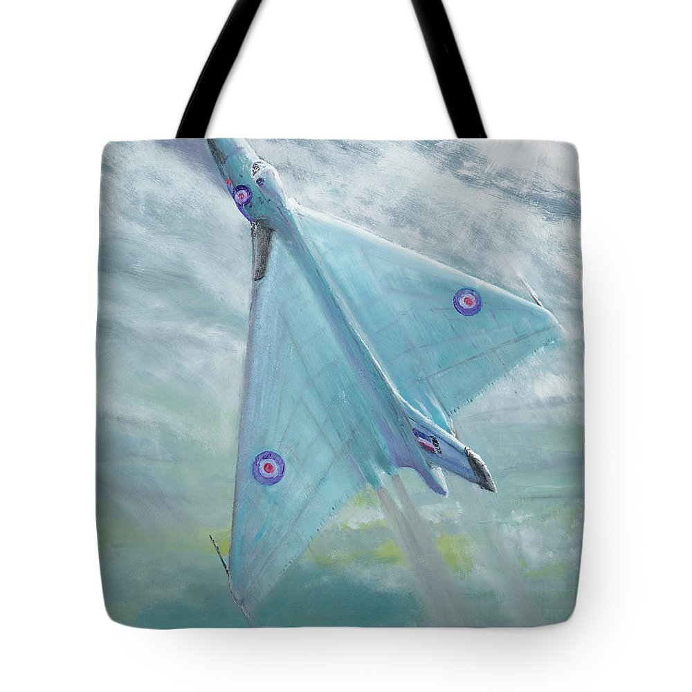 Avro Tote Bag featuring the painting Avro Vulcan B1 Night Flight by Vincent Alexander Booth