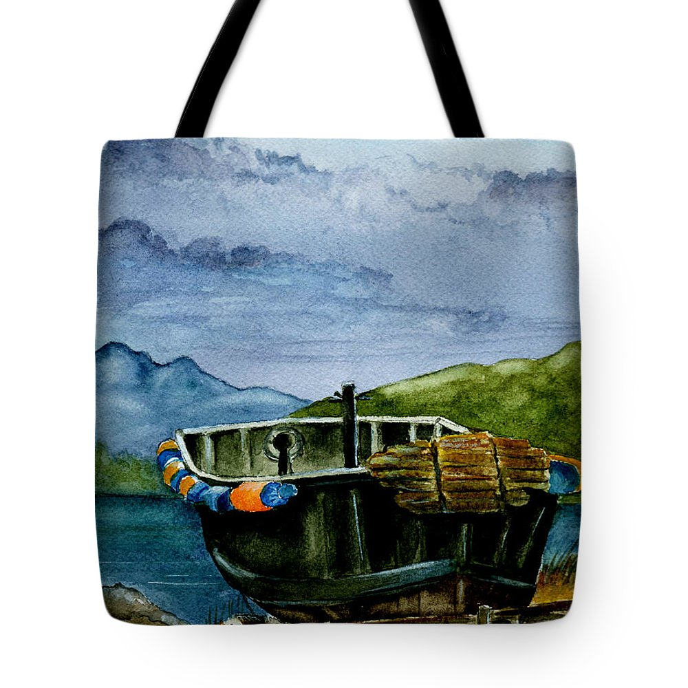 Watercolor Tote Bag featuring the painting Awaiting The Season by Brenda Owen
