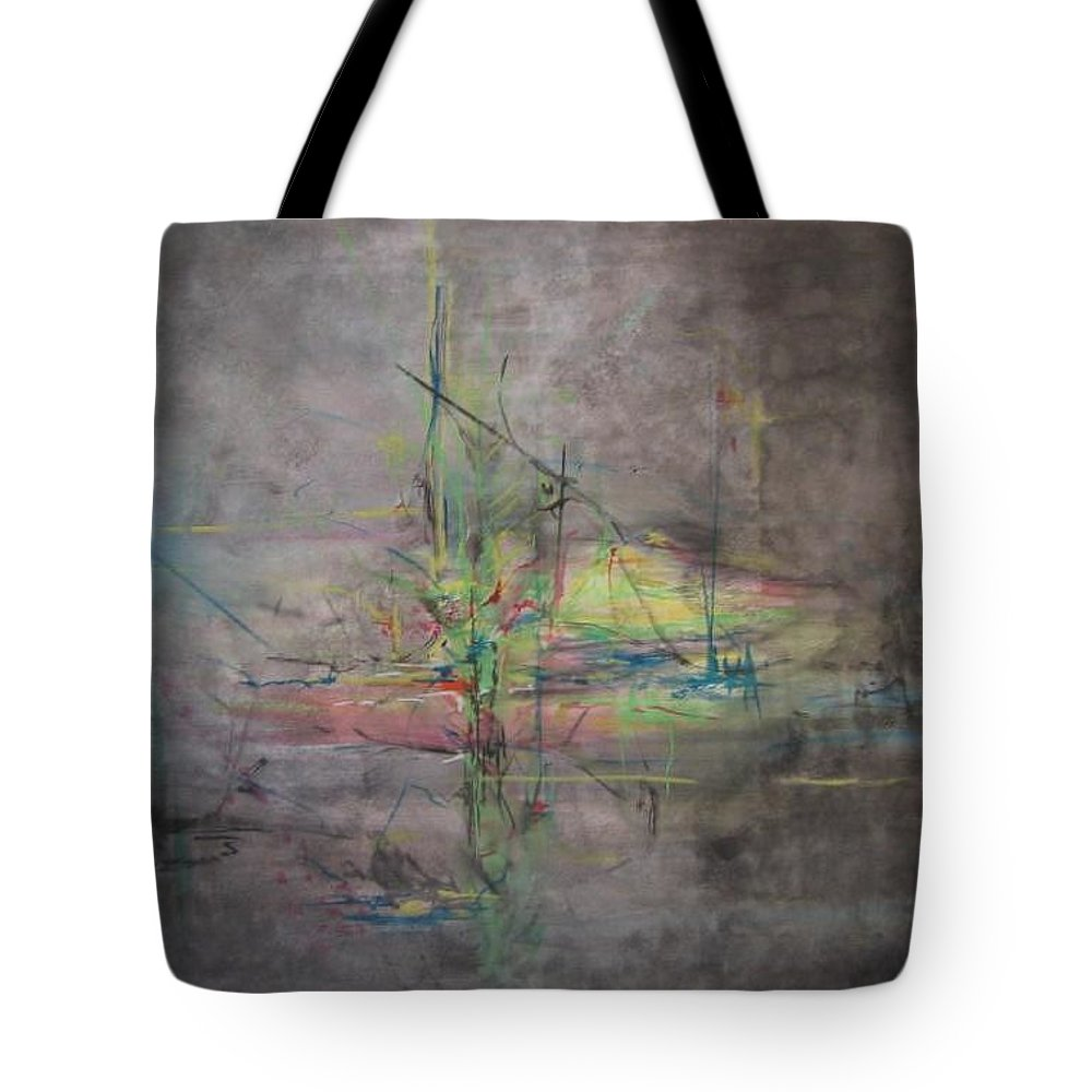 Abstract Tote Bag featuring the painting Awakening Abstract 1 Black Background Bright Detail by Lizzy Forrester