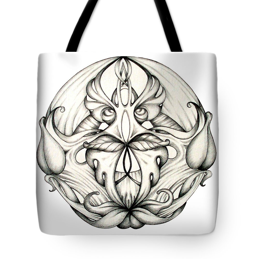 Mandala Tote Bag featuring the drawing Awakening by Shadia Derbyshire
