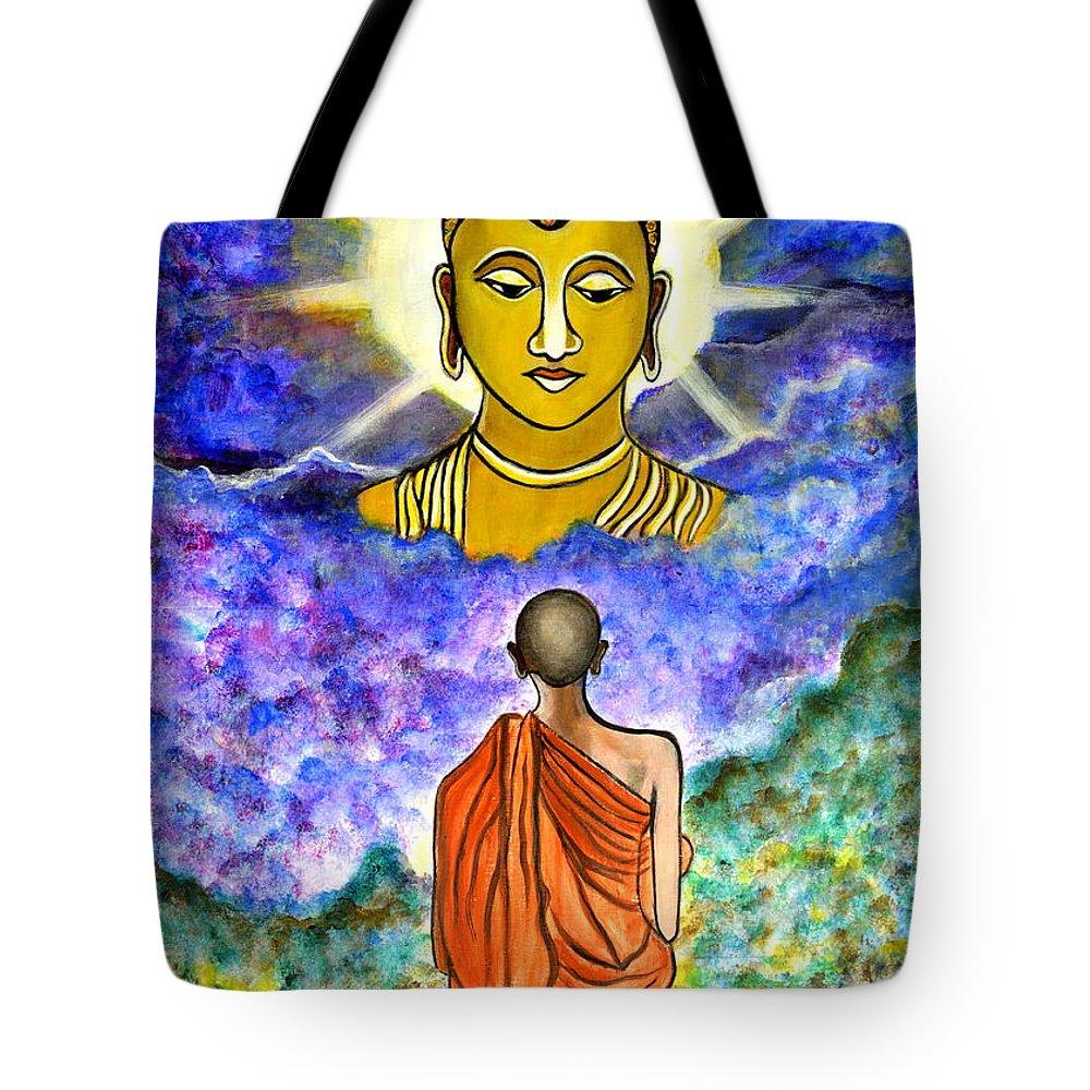 Buddha Tote Bag featuring the painting Awakening the Buddha within by Manjiri Kanvinde