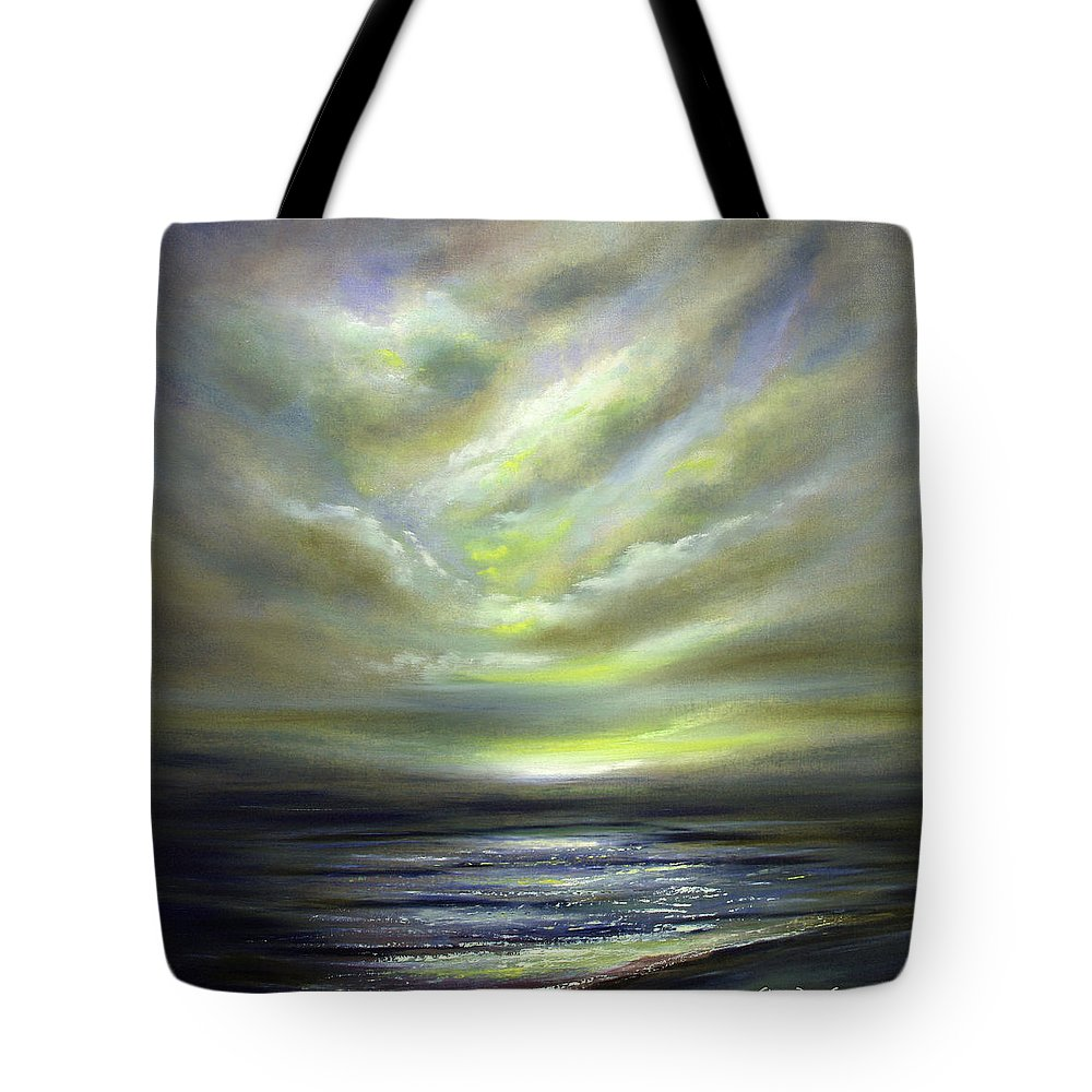 Sunset Tote Bag featuring the painting Away 2 by Gina De Gorna