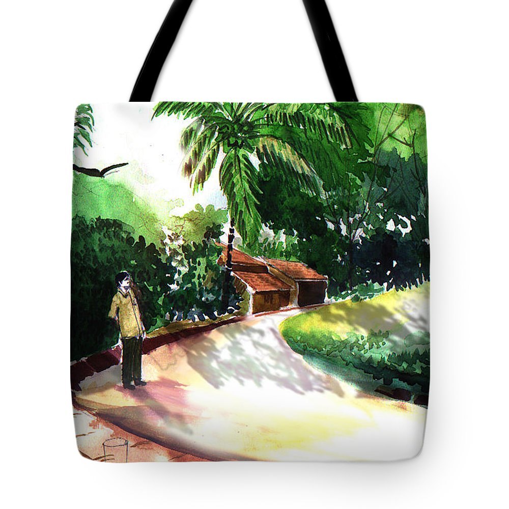 Water Color Watercolor Landscape Greenery Tote Bag featuring the painting Awe by Anil Nene