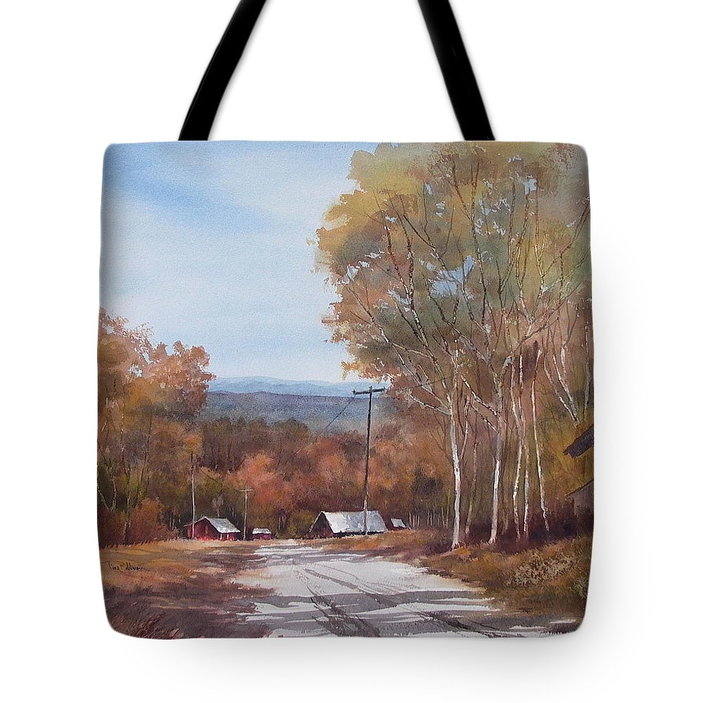 Landscape Tote Bag featuring the painting Awesome Autumn by Tina Bohlman