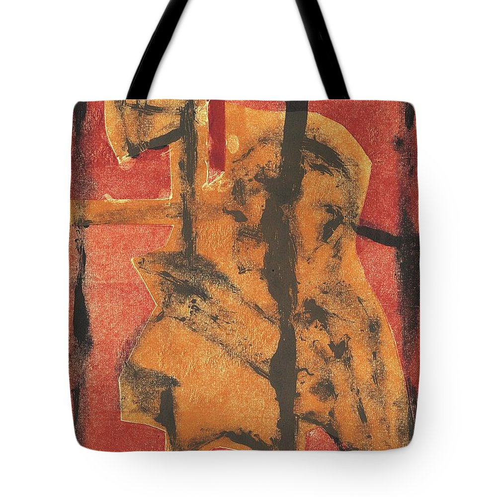 Axeman Tote Bag featuring the relief Axeman 14 by Artist Dot