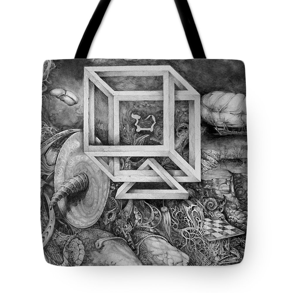 Drawing Tote Bag featuring the drawing Axis Mundi by Otto Rapp