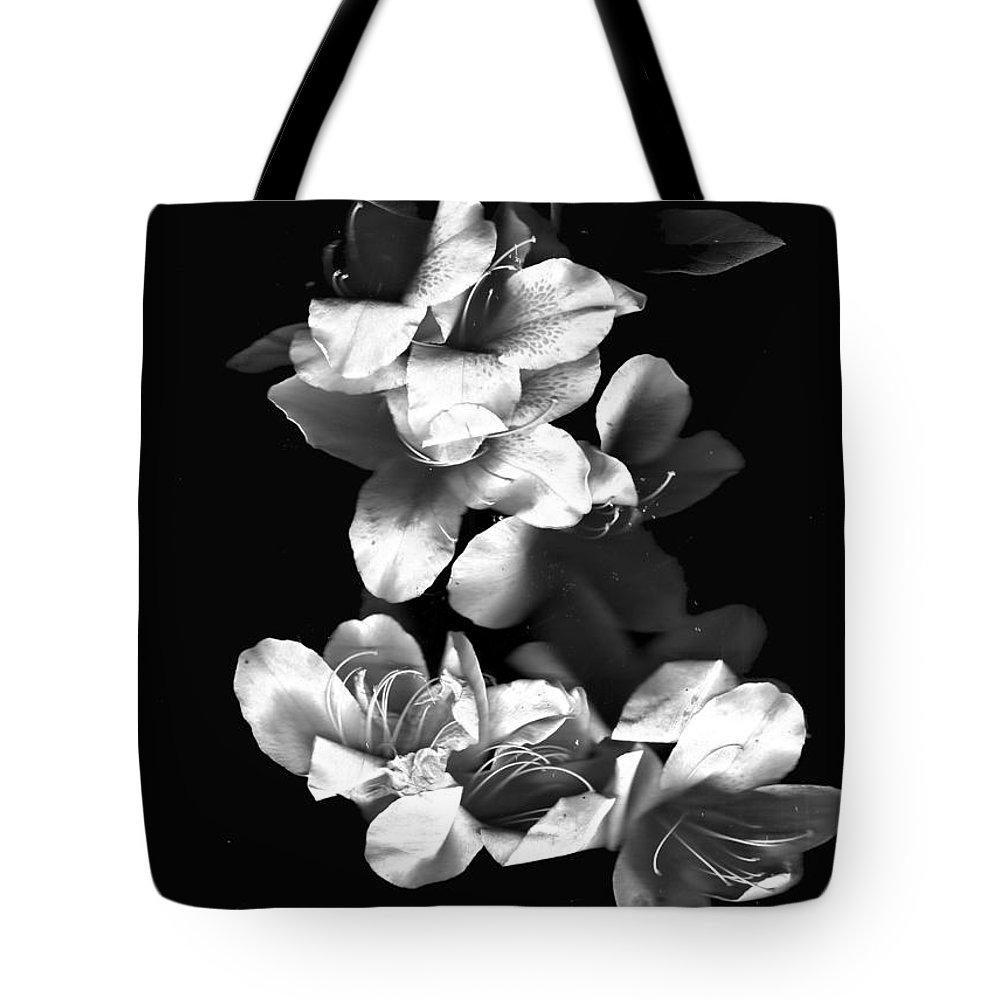 Azaela Tote Bag featuring the photograph Azaela Blossom In Black And White by Wayne Potrafka