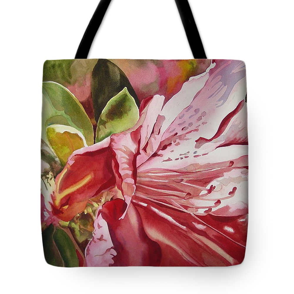 Watercolor Tote Bag featuring the painting Azalea by Marlene Gremillion