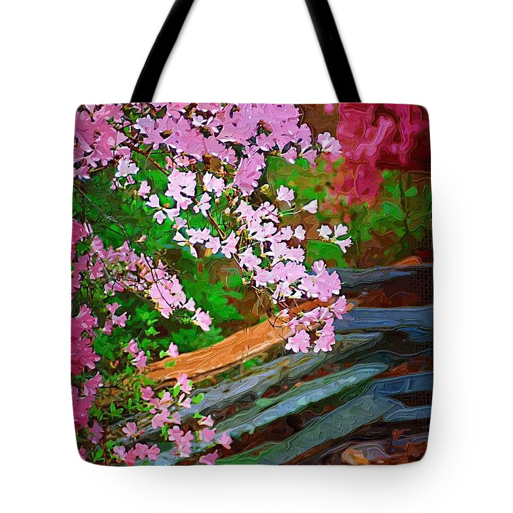 Flowers Tote Bag featuring the photograph Azaleas Over The Fence by Donna Bentley