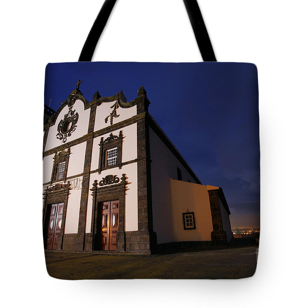 Catholic Tote Bag featuring the photograph Azorean Church At Night by Gaspar Avila