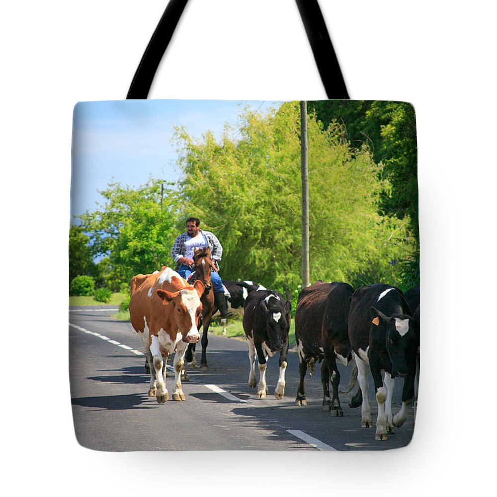 Agriculture Tote Bag featuring the photograph Azorean Farmer by Gaspar Avila