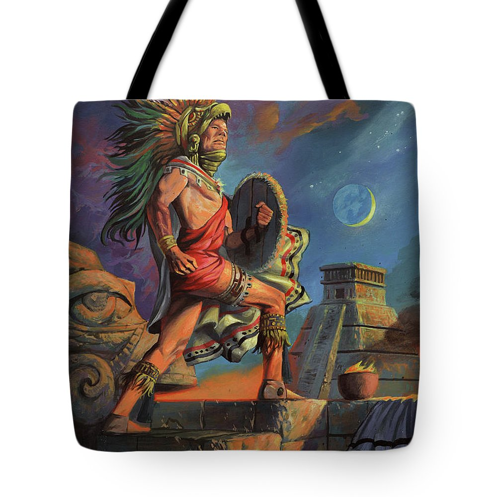 Aztec Tote Bag featuring the painting Aztec by A Prints