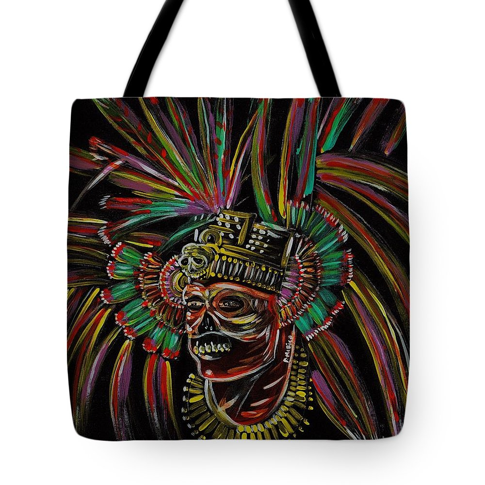 Aztec Tote Bag featuring the painting Aztec Skull Warrior by Americo Salazar