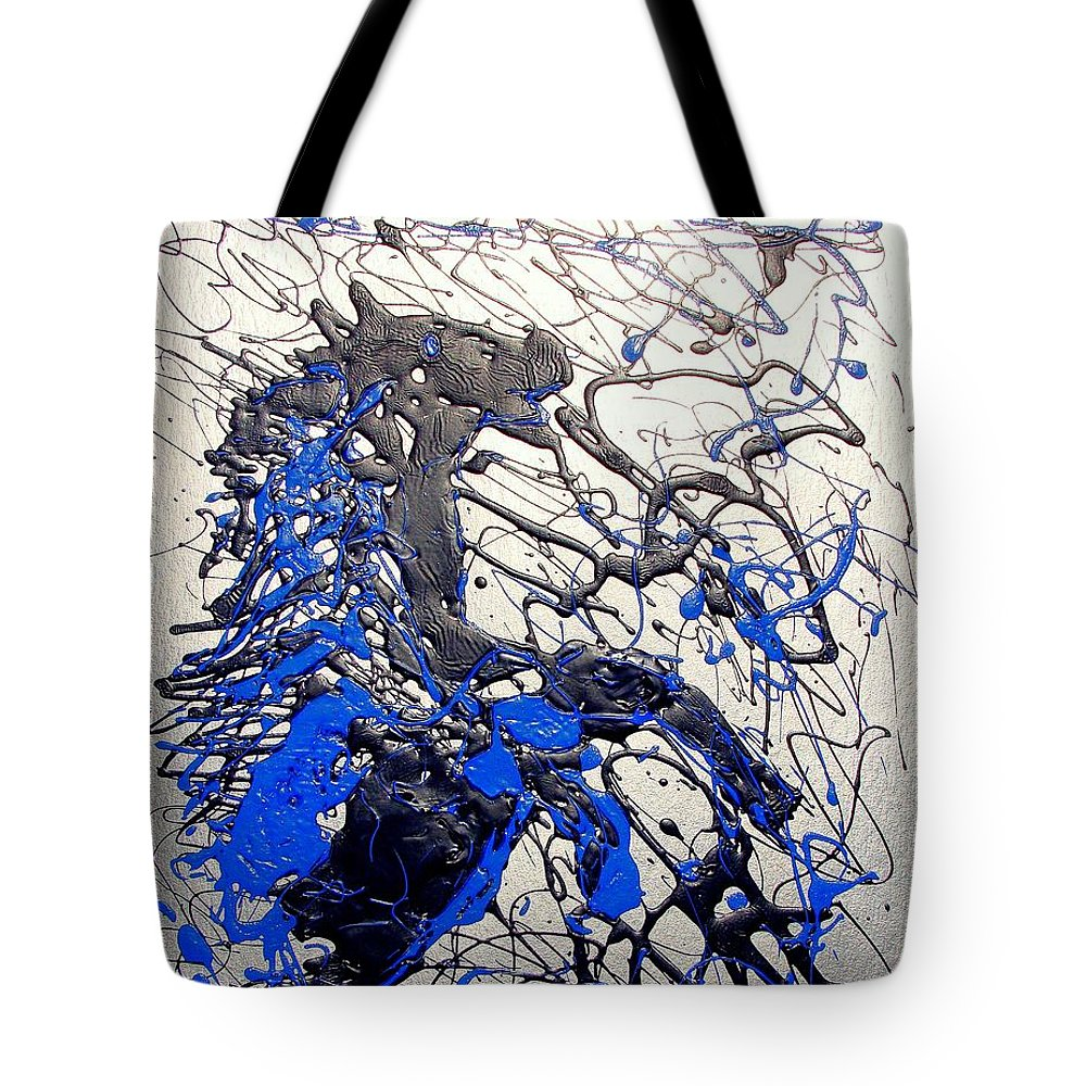 Abstract/impressionist Art Tote Bag featuring the painting Azul Diablo by J R Seymour