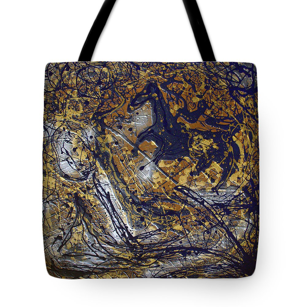 Abstract Tote Bag featuring the painting Azul Diablo's Escape by J R Seymour