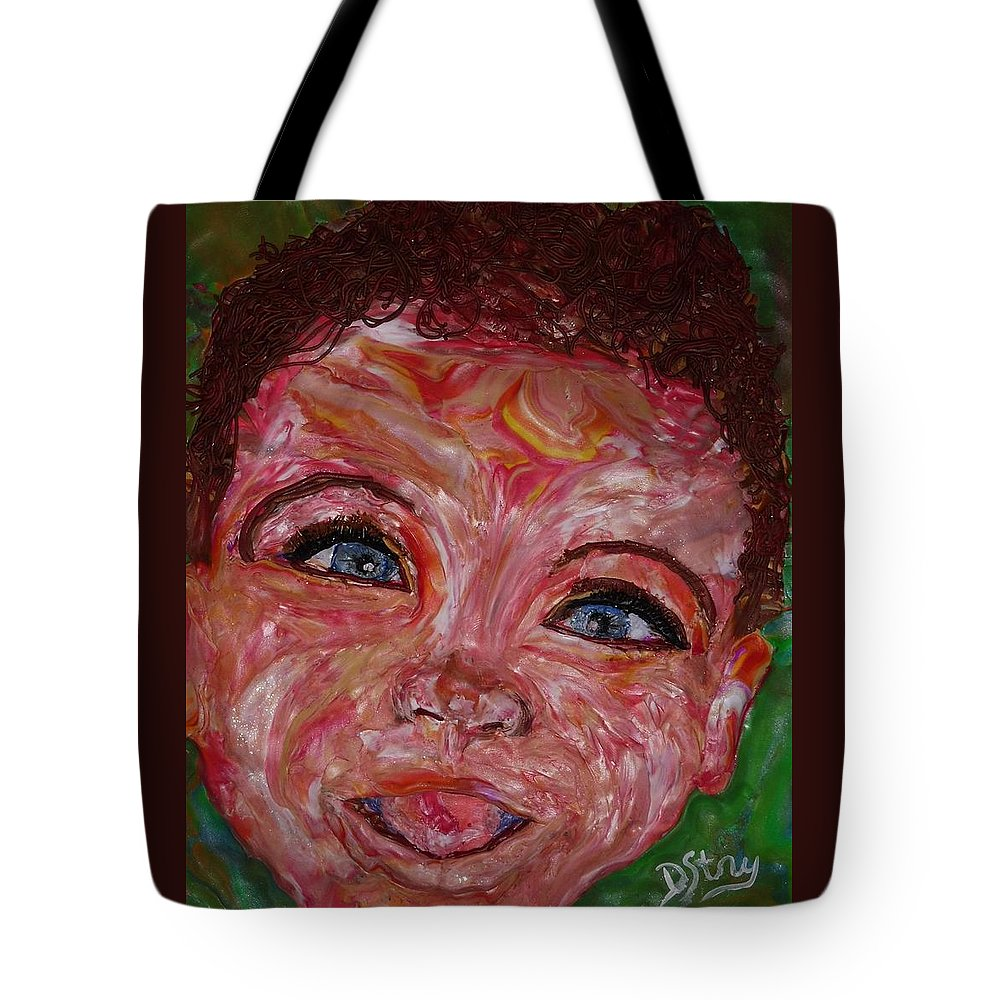 Polymer Clay Tote Bag featuring the mixed media Azuriah by Deborah Stanley
