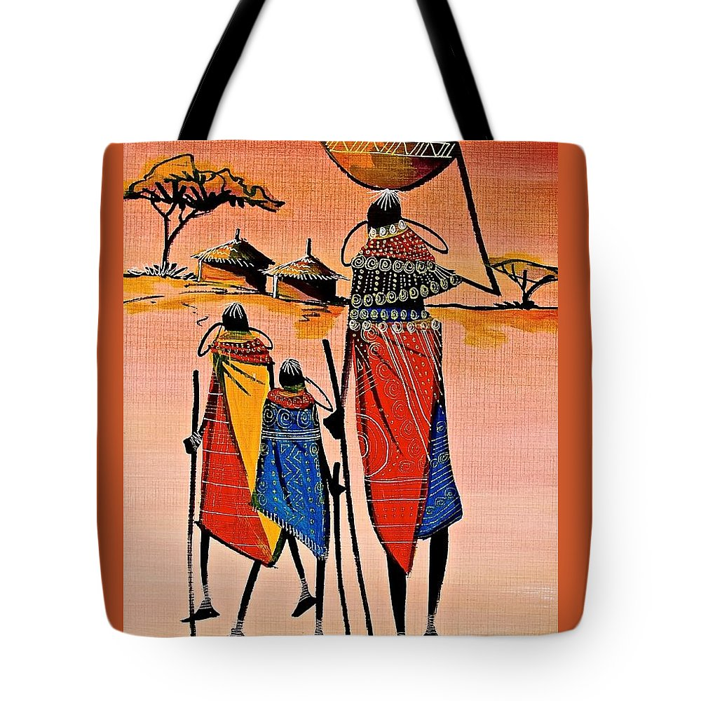 True African Art Tote Bag featuring the painting B 305 by Martin Bulinya