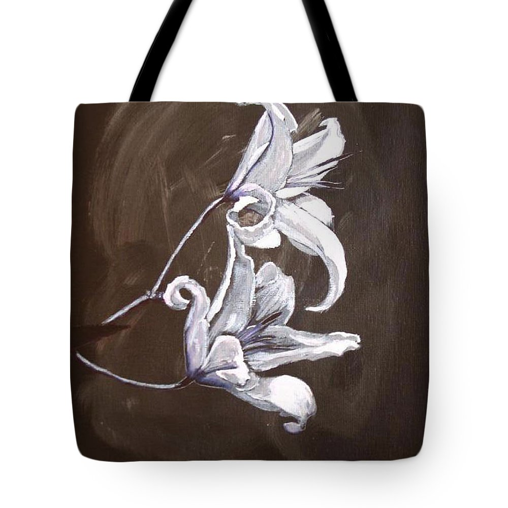 Lily Tote Bag featuring the painting B And W Lily by Richard Le Page