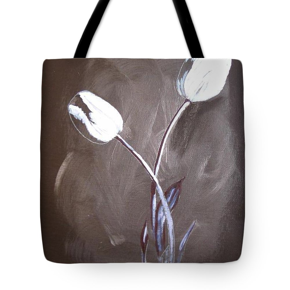 Tulips Tote Bag featuring the painting B And W Tulips by Richard Le Page