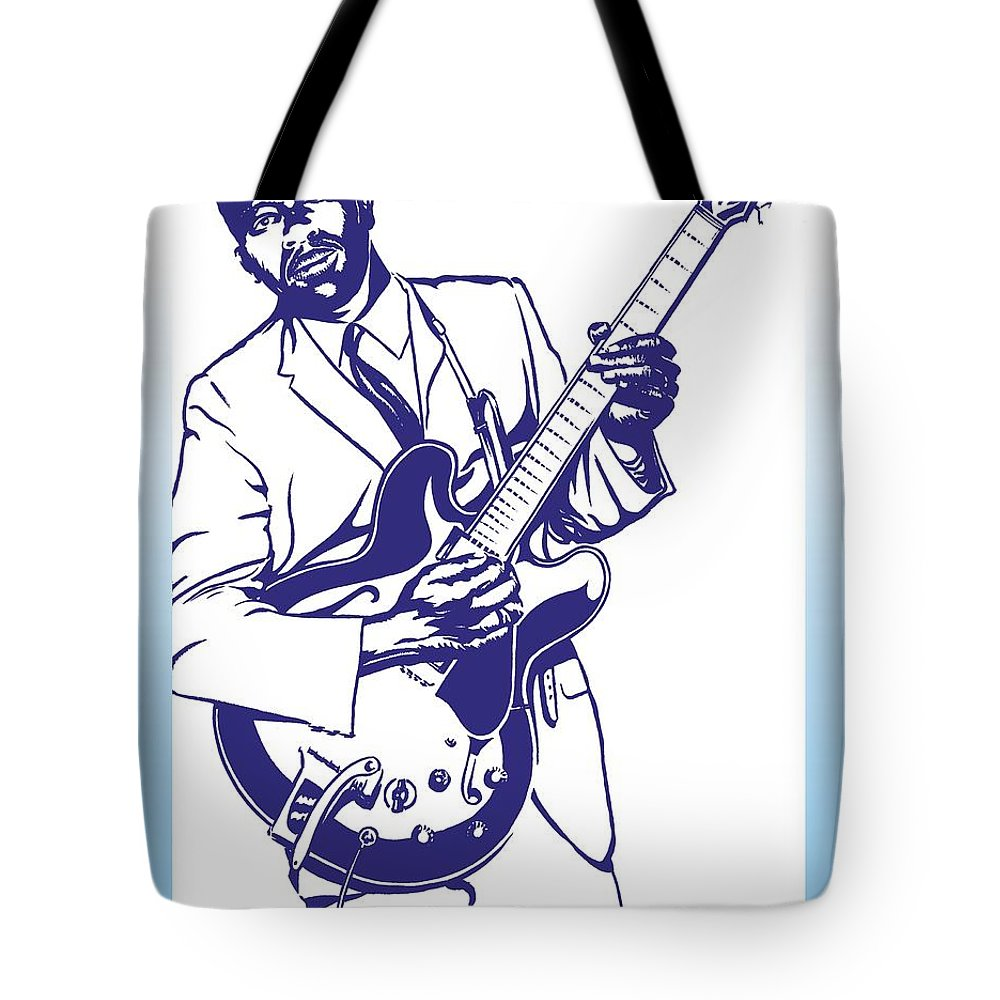 Bb Tote Bag featuring the drawing B. B. King by Markus Neal Humby
