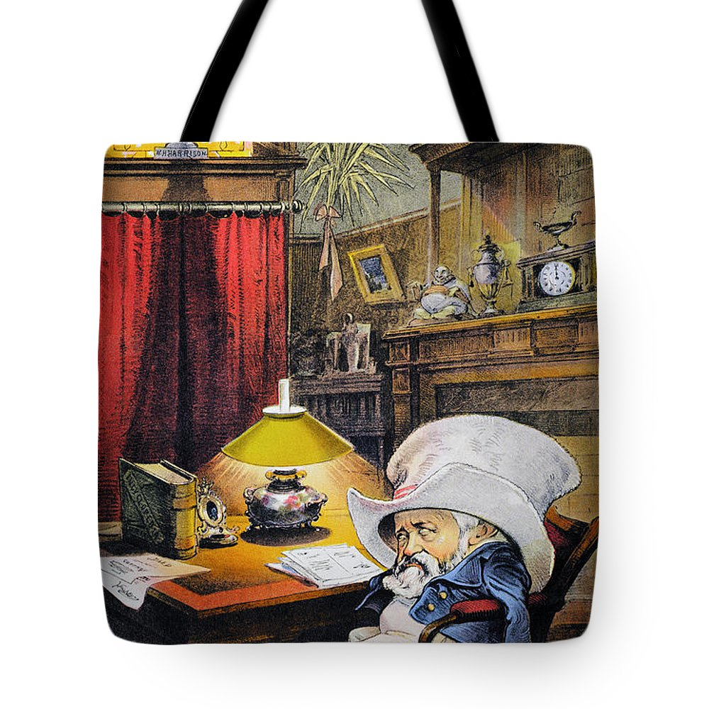 1892 Tote Bag featuring the photograph B. Harrison Cartoon, 1892 by Granger