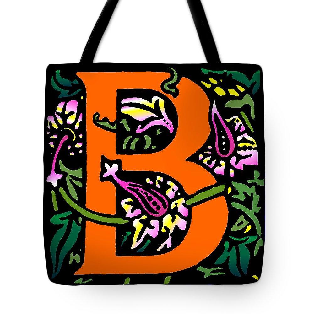Alphabet Tote Bag featuring the digital art B In Orange by Kathleen Sepulveda