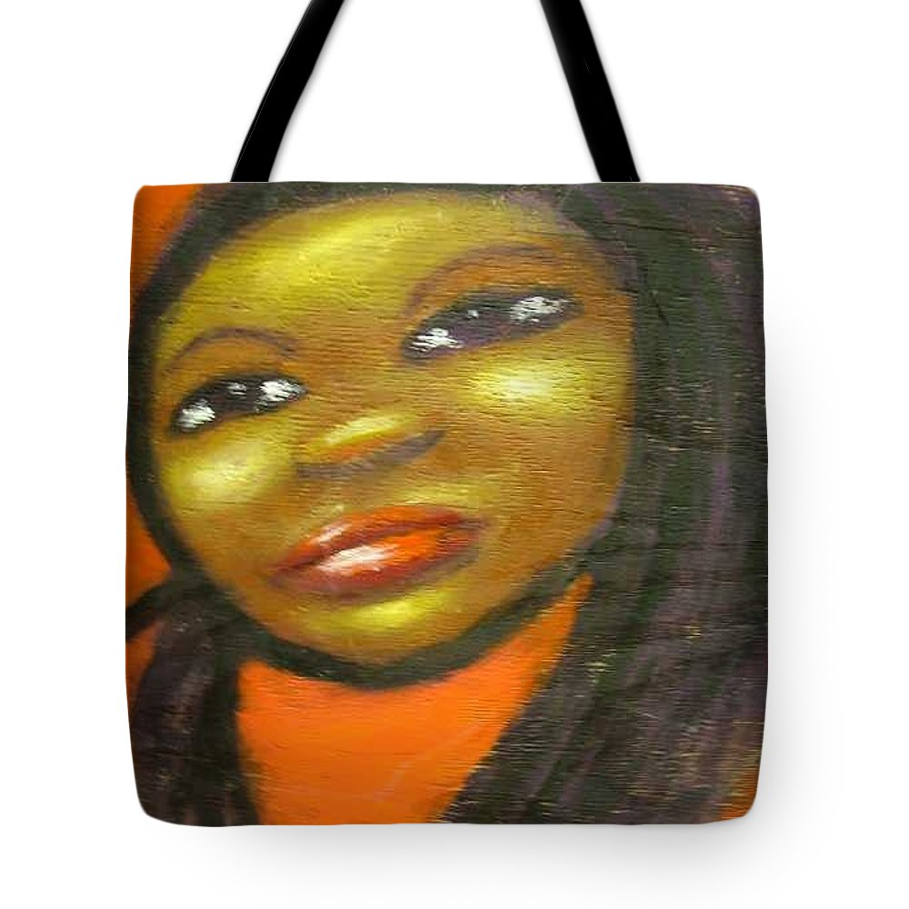 Lady In A Red Dress Tote Bag featuring the painting B by Jan Gilmore