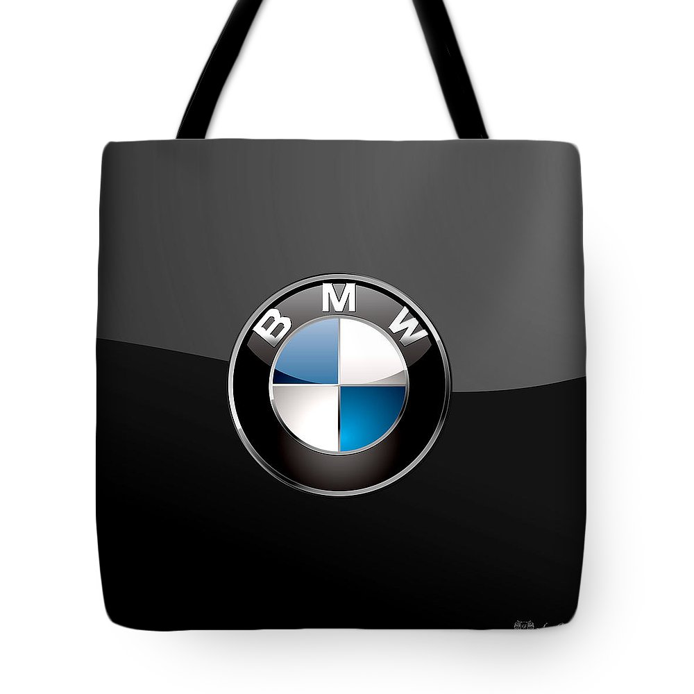 �wheels Of Fortune� Collection By Serge Averbukh Tote Bag featuring the photograph B M W 3 D Badge on Black by Serge Averbukh