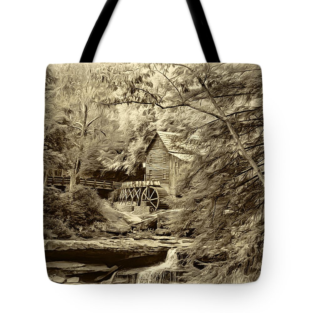 West Virginia Tote Bag featuring the photograph Babcock State Park Wv - Sepia by Steve Harrington