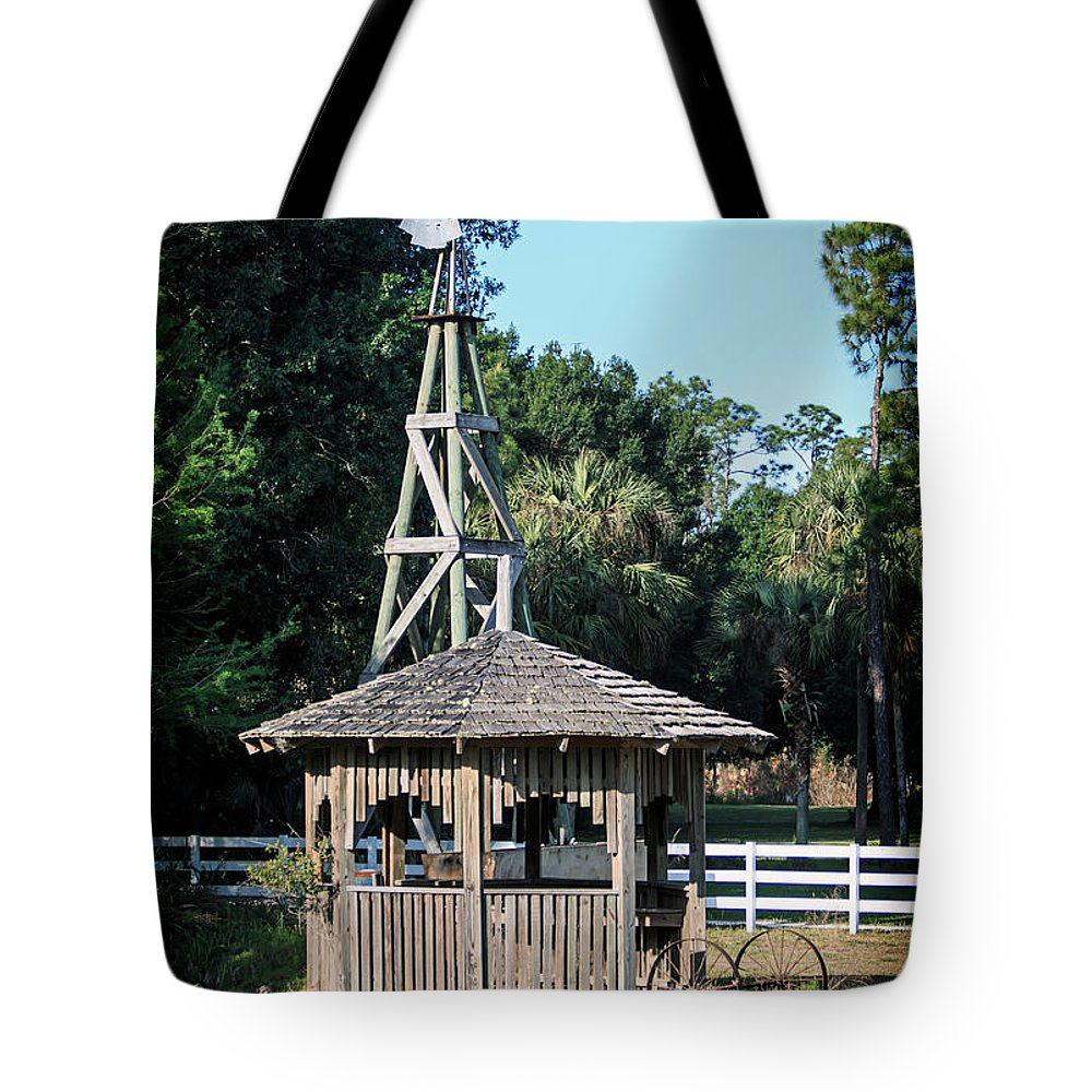 Florida Tote Bag featuring the photograph Babcock Wilderness Ranch - Windmill by Ronald Reid
