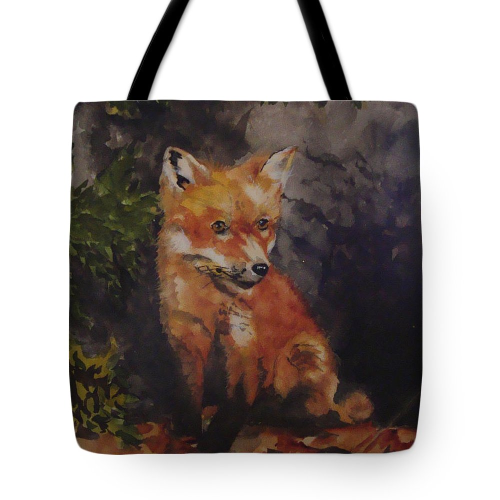Fox Tote Bag featuring the painting Babe In The Woods by Jean Blackmer