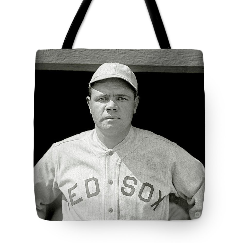 Babe Ruth Tote Bag featuring the photograph Babe Ruth Red Sox by Jon Neidert