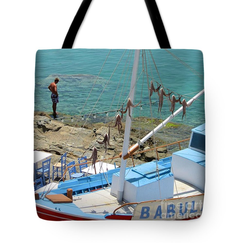 Greece Tote Bag featuring the photograph Babula's Fresh Catch by Roam Images