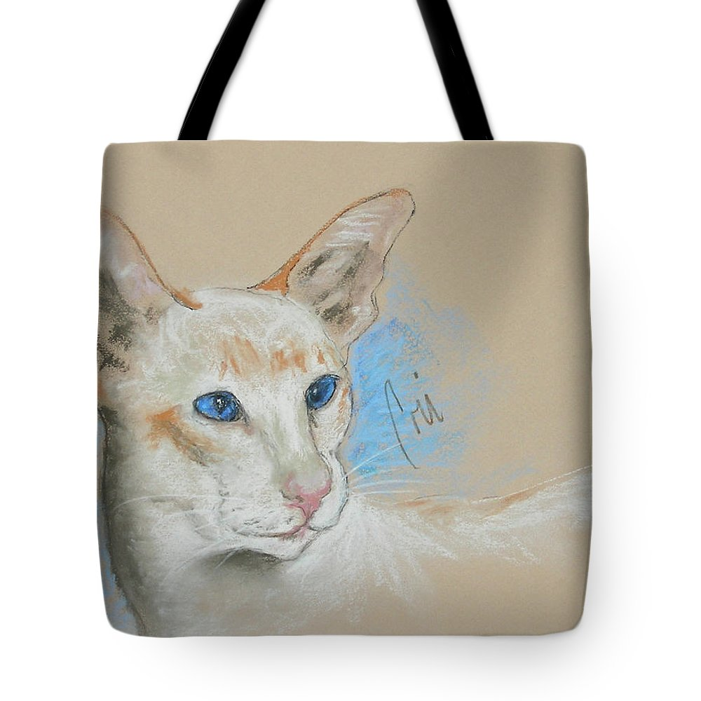 Cat Tote Bag featuring the drawing Baby Blues by Cori Solomon