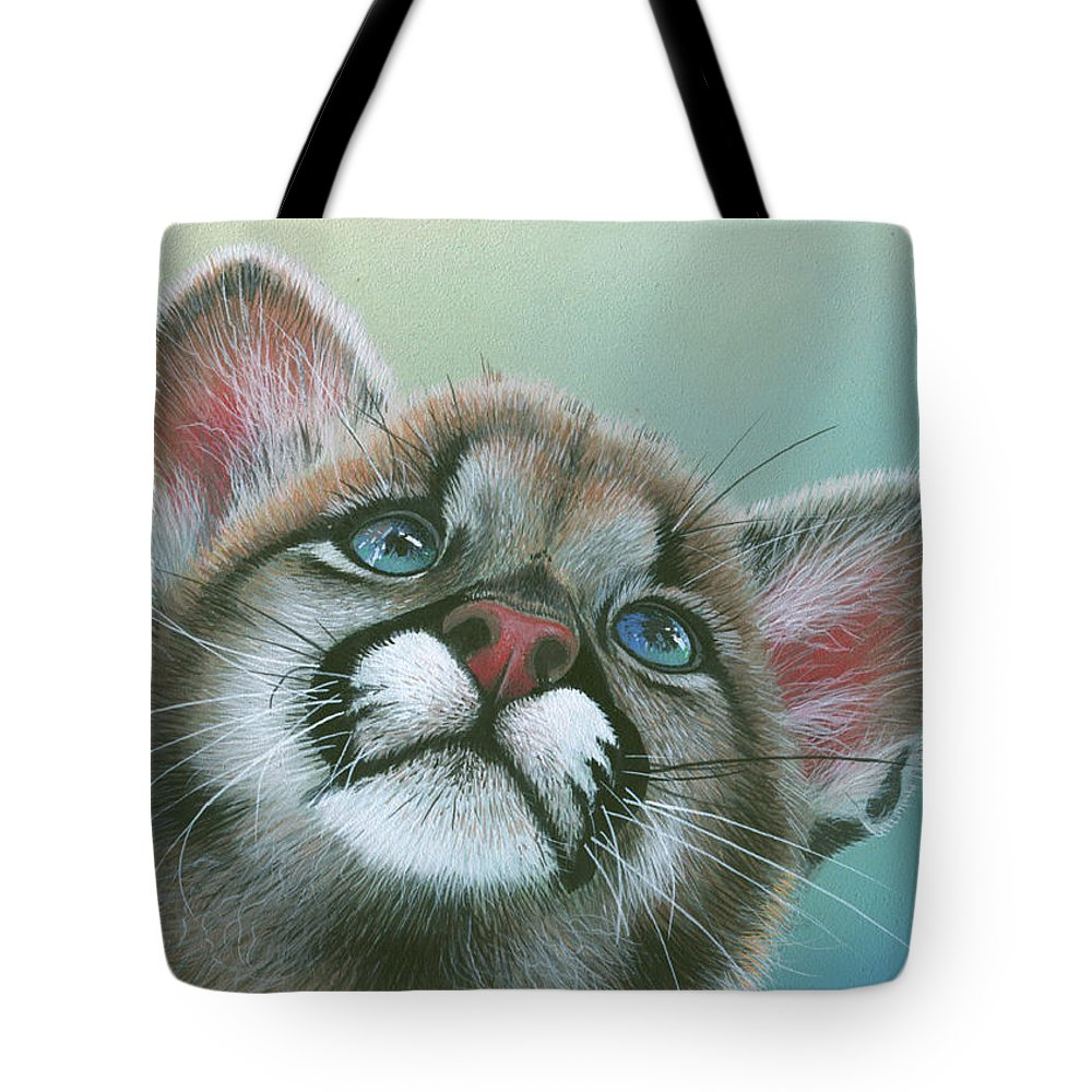Cougar Tote Bag featuring the painting Baby Blues by Mike Brown