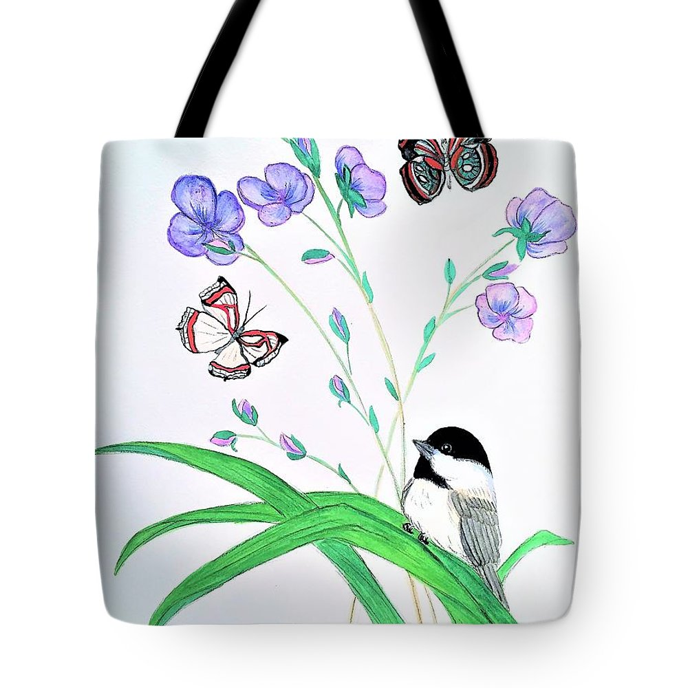 Watercolor Tote Bag featuring the painting Baby Chickadee And Butterflies by Dee Grimm