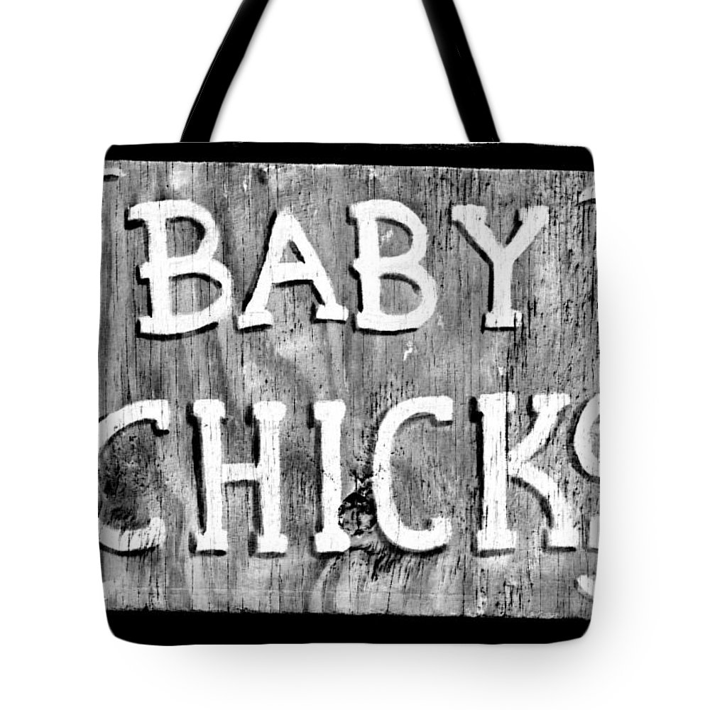 Baby Chicks Tote Bag featuring the photograph Baby Chicks Bw by Pamela Critchlow